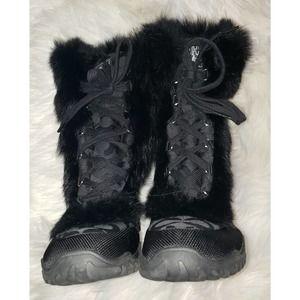 Coach Jennie Rabbit Fur Trimmed Snow Boots Logo Jacquard